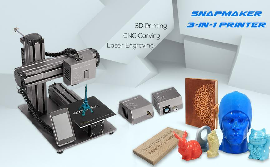 внешний вид 3D-принтера с примерами печати
