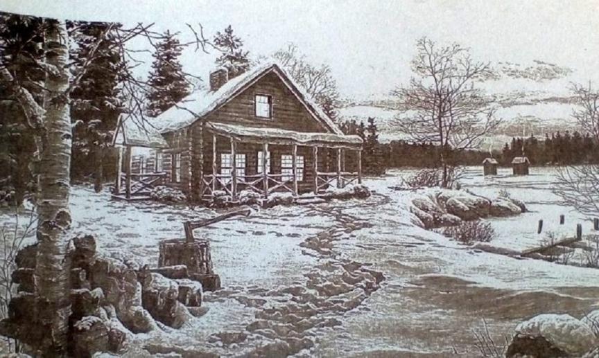 пример картины с деревенским домом