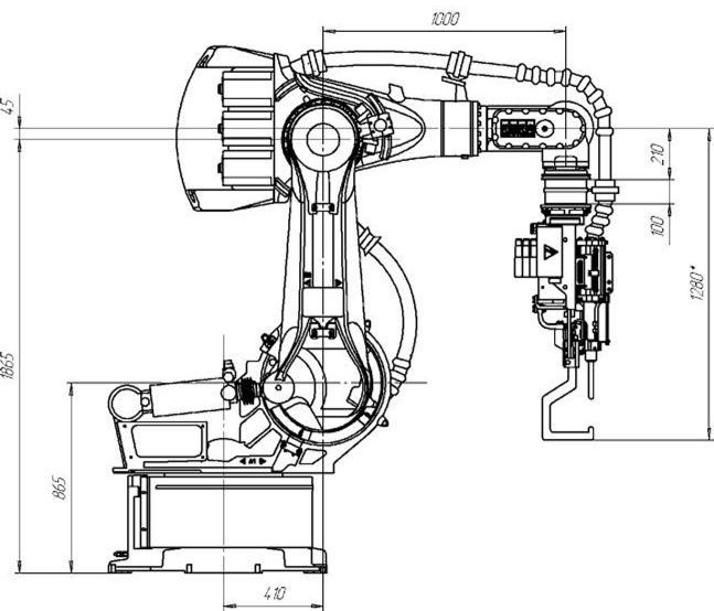 Схематичное изображение робота-манипулятора