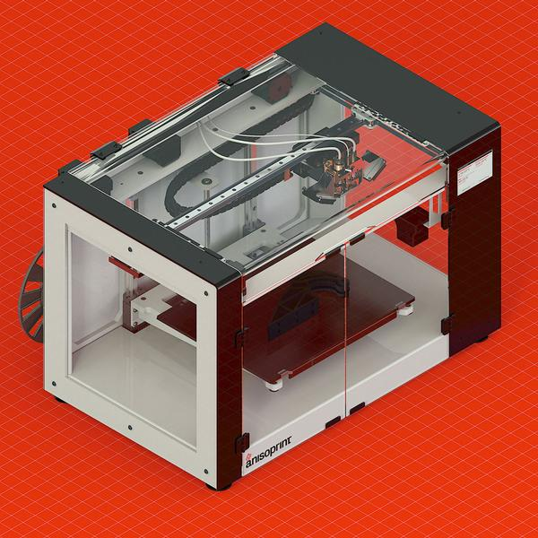 принтер на красном фоне