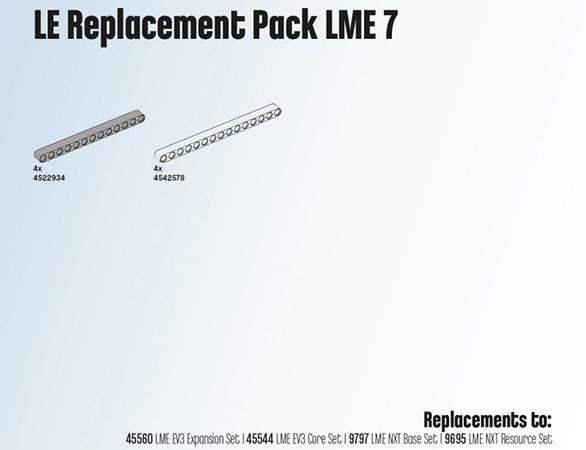 Комплект запасных частей для наборов LEGO EDUCATION LME 7 2000706